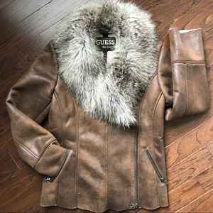 Guess faux leather/suede/Sherpa lined jacket